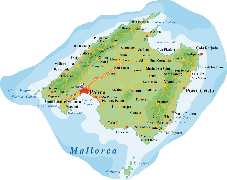 Mallorca Karte Mallorca Karte